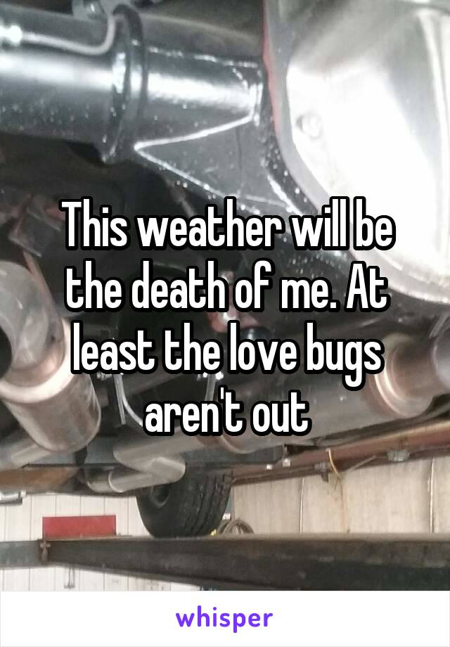 This weather will be the death of me. At least the love bugs aren't out