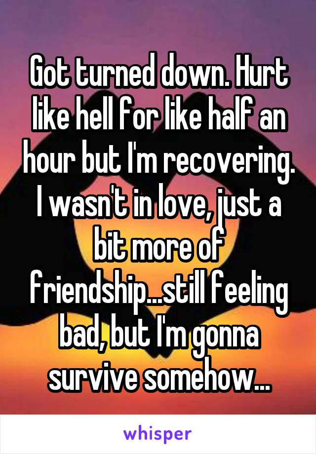 Got turned down. Hurt like hell for like half an hour but I'm recovering. I wasn't in love, just a bit more of friendship...still feeling bad, but I'm gonna survive somehow...