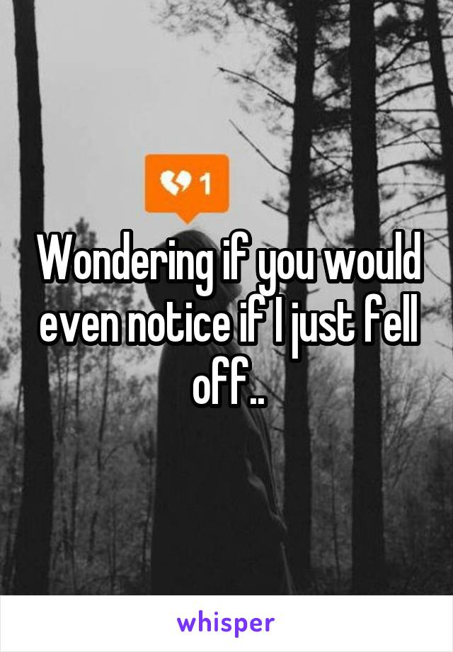 Wondering if you would even notice if I just fell off..