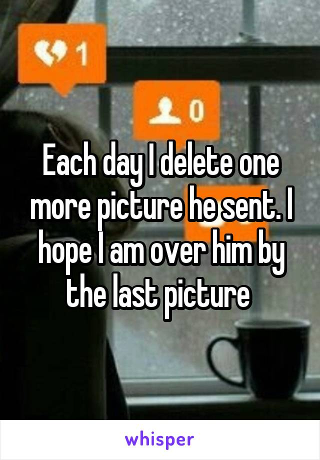 Each day I delete one more picture he sent. I hope I am over him by the last picture