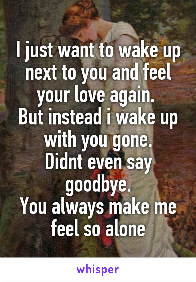 I just want to wake up next to you and feel your love again.  But instead i wake up with you gone. Didnt even say goodbye. You always make me feel so alone