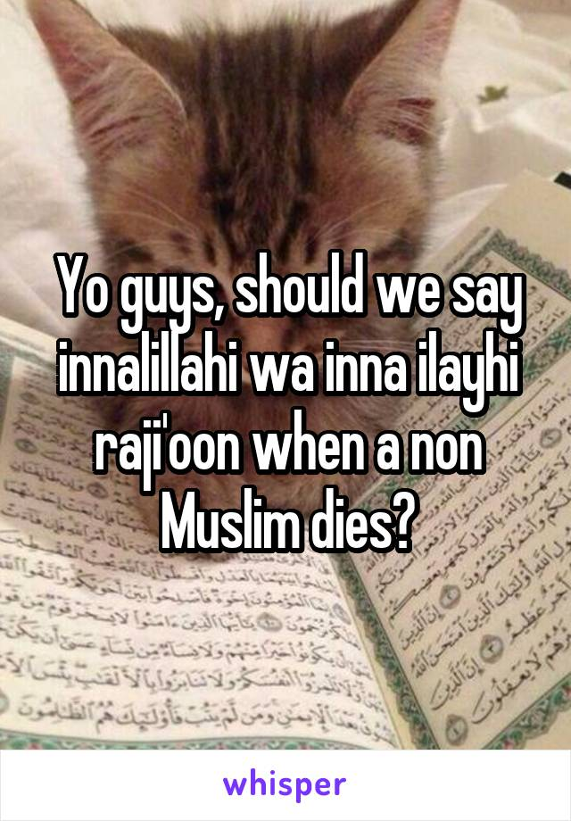 Yo guys, should we say innalillahi wa inna ilayhi raji'oon when a non Muslim dies?