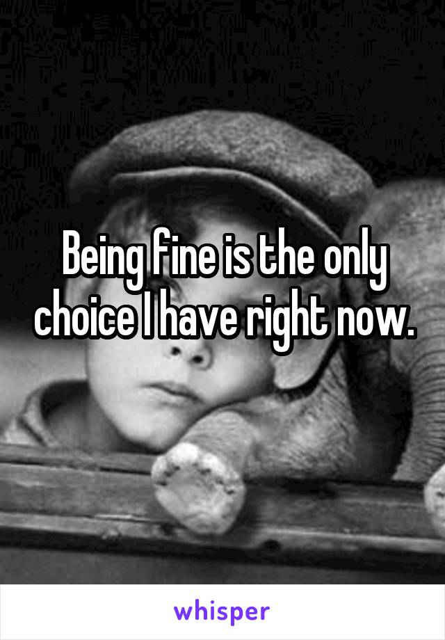 Being fine is the only choice I have right now.
