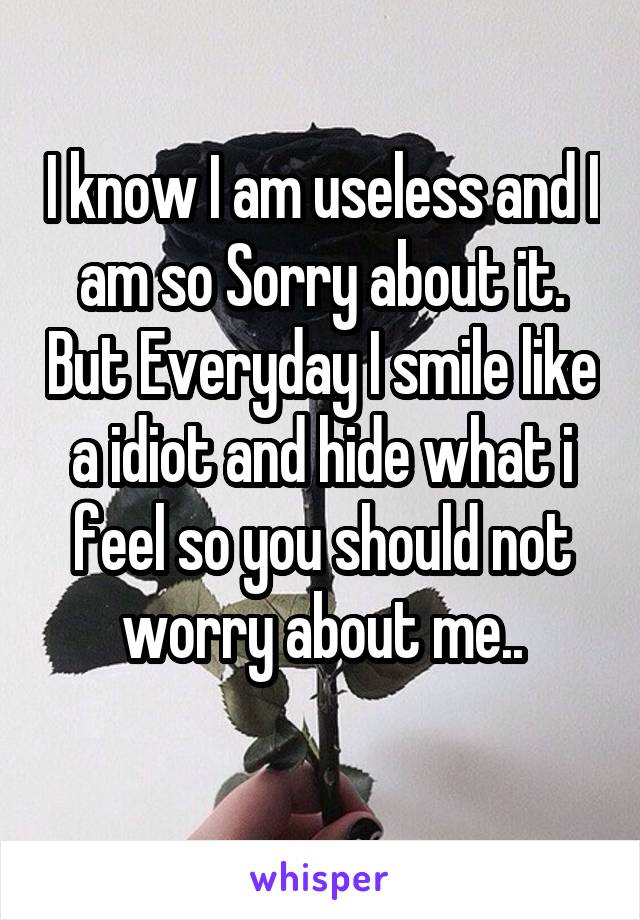 I know I am useless and I am so Sorry about it. But Everyday I smile like a idiot and hide what i feel so you should not worry about me..