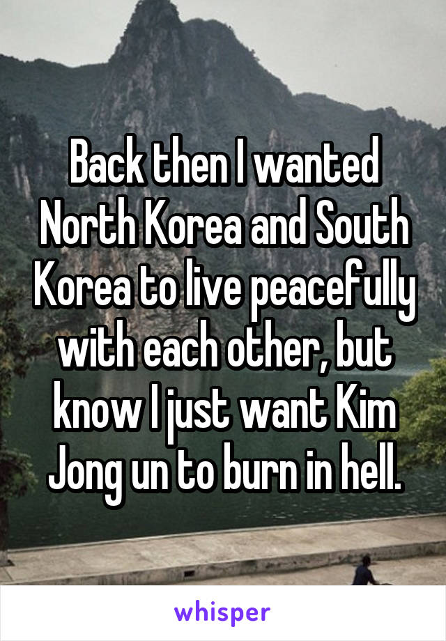Back then I wanted North Korea and South Korea to live peacefully with each other, but know I just want Kim Jong un to burn in hell.
