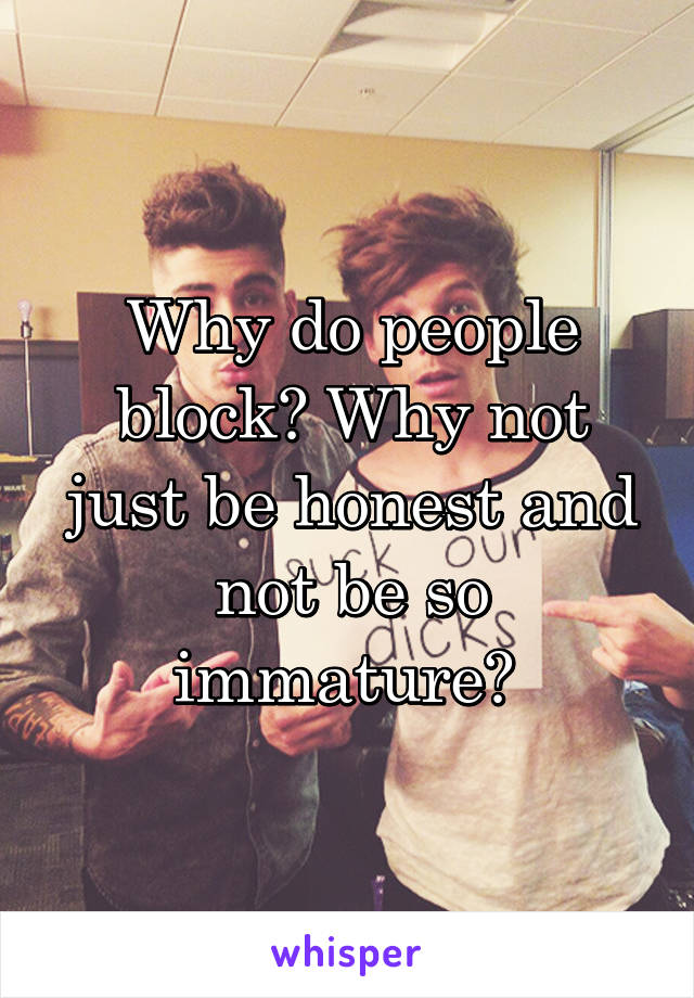 Why do people block? Why not just be honest and not be so immature?