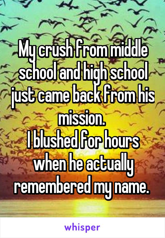 My crush from middle school and high school just came back from his mission.  I blushed for hours when he actually remembered my name.