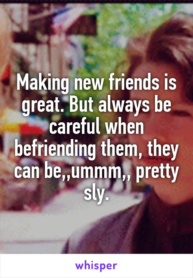 Making new friends is great. But always be careful when befriending them, they can be,,ummm,, pretty sly.