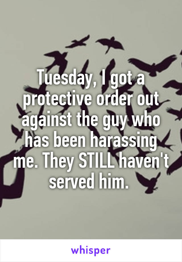 Tuesday, I got a protective order out against the guy who has been harassing me. They STILL haven't served him.