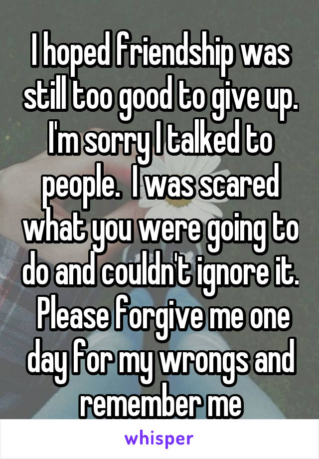 I hoped friendship was still too good to give up. I'm sorry I talked to people.  I was scared what you were going to do and couldn't ignore it.  Please forgive me one day for my wrongs and remember me