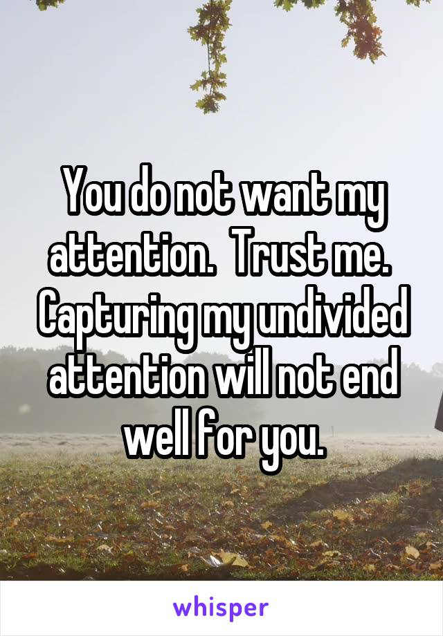 You do not want my attention.  Trust me.  Capturing my undivided attention will not end well for you.