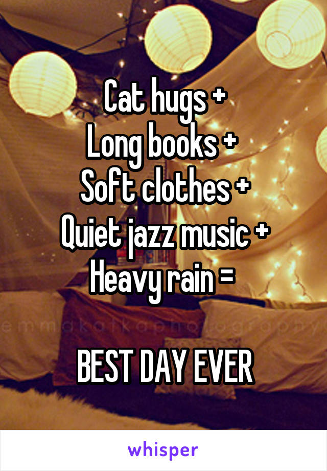 Cat hugs + Long books +  Soft clothes + Quiet jazz music + Heavy rain =   BEST DAY EVER