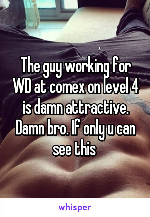 The guy working for WD at comex on level 4 is damn attractive. Damn bro. If only u can see this