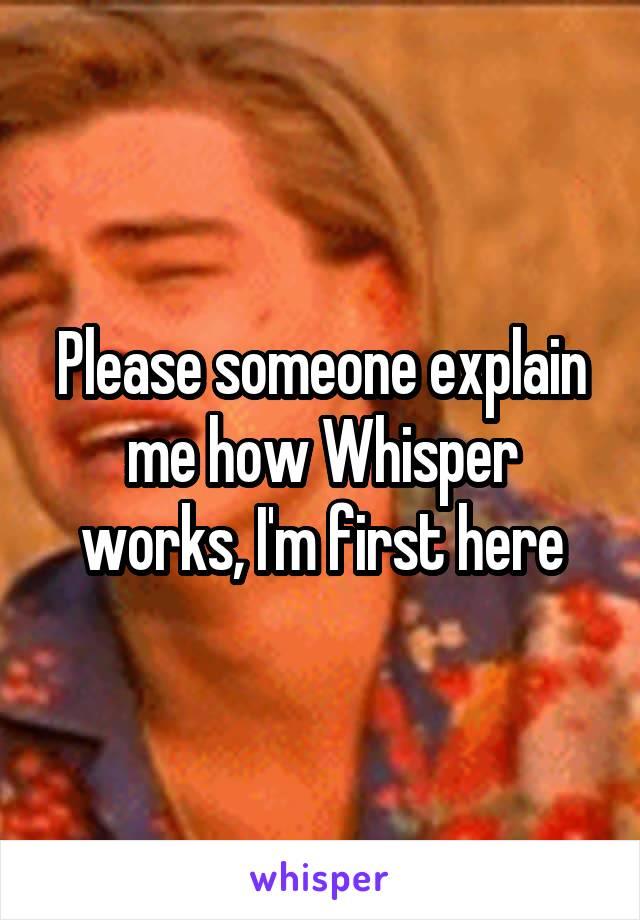 Please someone explain me how Whisper works, I'm first here