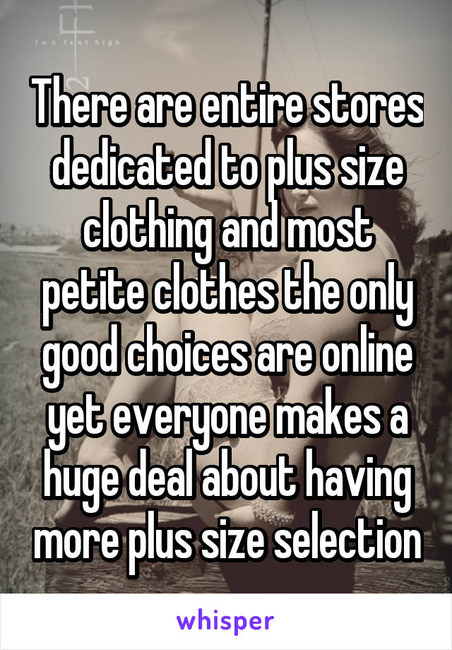 There are entire stores dedicated to plus size clothing and most petite clothes the only good choices are online yet everyone makes a huge deal about having more plus size selection