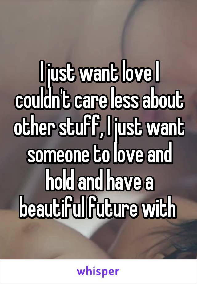 I just want love I couldn't care less about other stuff, I just want someone to love and hold and have a beautiful future with