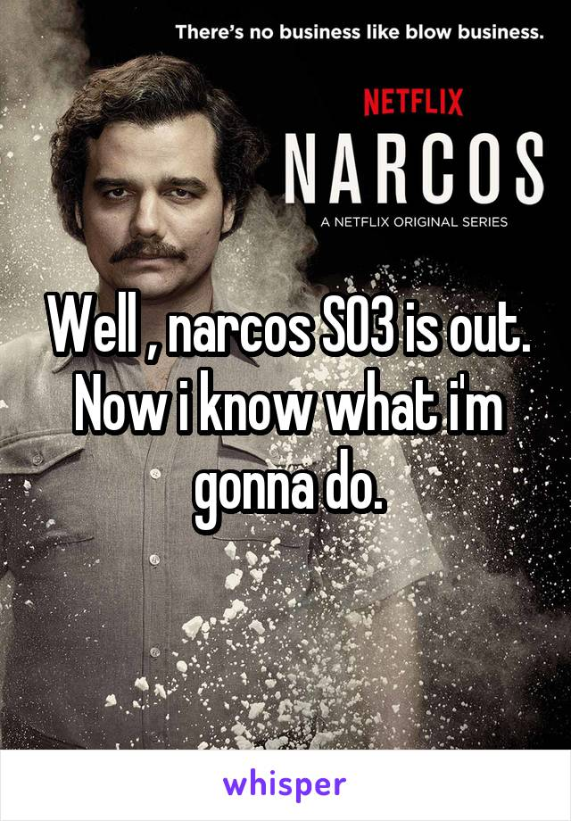 Well , narcos S03 is out. Now i know what i'm gonna do.