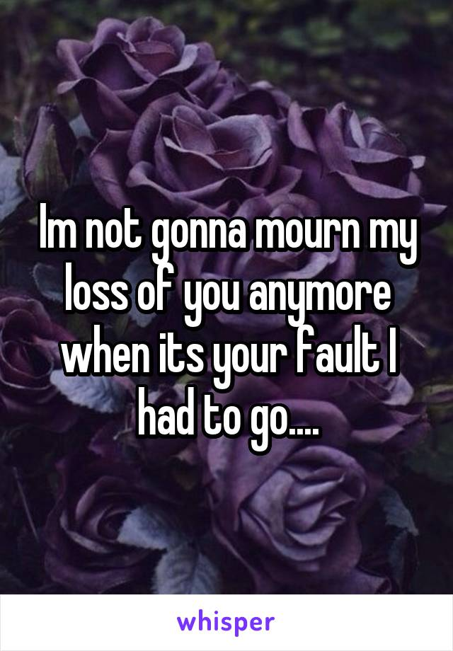 Im not gonna mourn my loss of you anymore when its your fault I had to go....