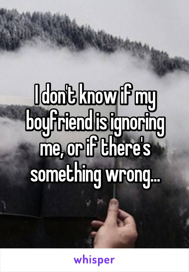 I don't know if my boyfriend is ignoring me, or if there's something wrong...
