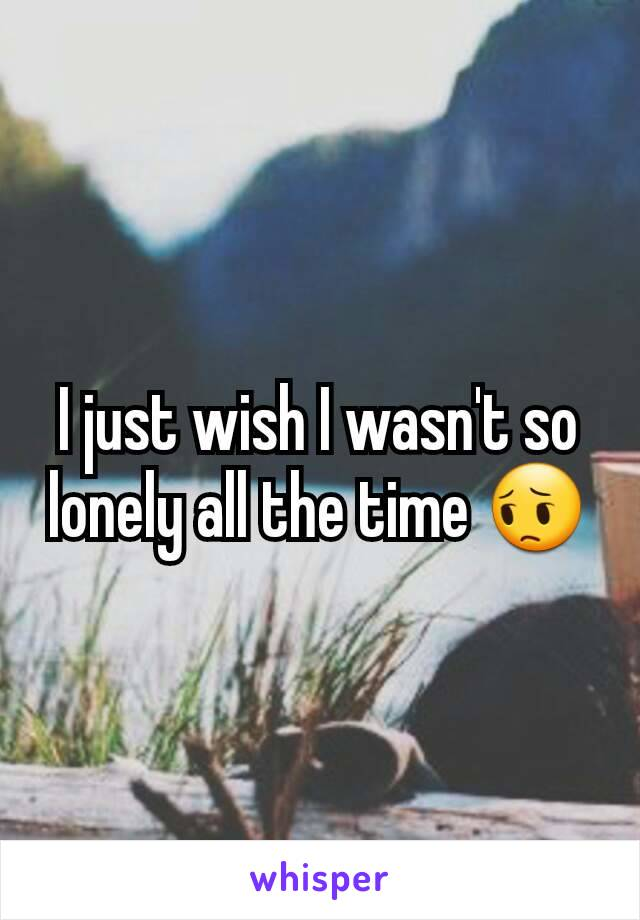 I just wish I wasn't so lonely all the time 😔