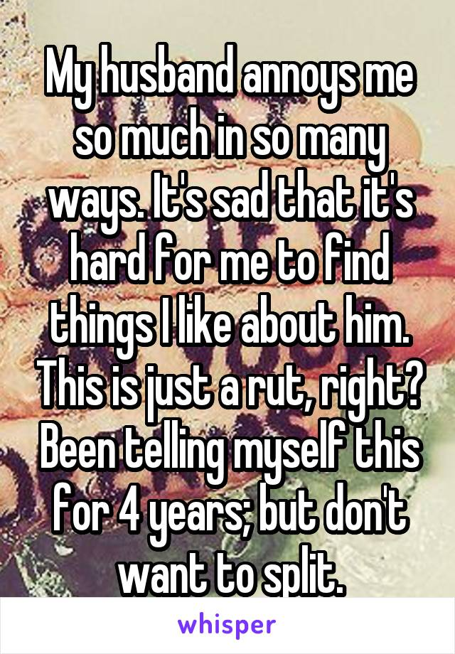 My husband annoys me so much in so many ways. It's sad that it's hard for me to find things I like about him. This is just a rut, right? Been telling myself this for 4 years; but don't want to split.