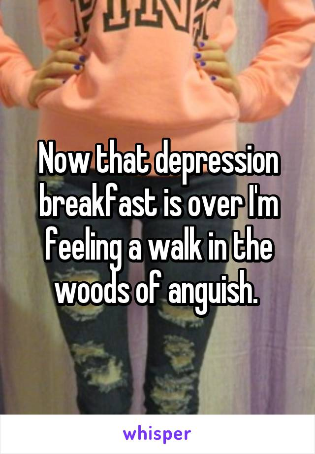 Now that depression breakfast is over I'm feeling a walk in the woods of anguish.