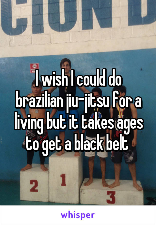 I wish I could do brazilian jiu-jitsu for a living but it takes ages to get a black belt