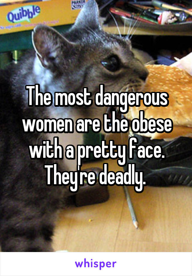 The most dangerous women are the obese with a pretty face. They're deadly.