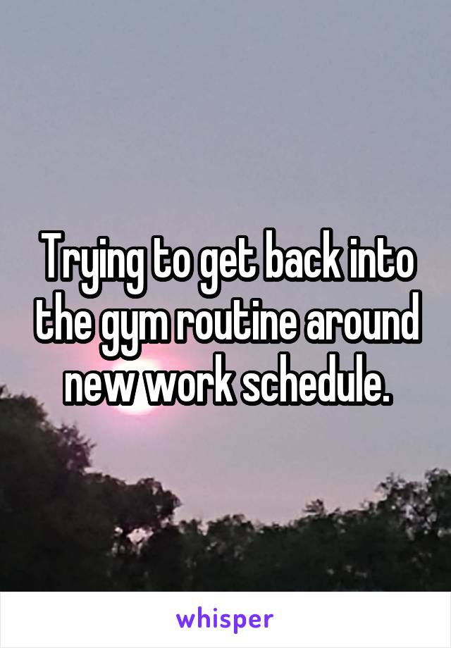 Trying to get back into the gym routine around new work schedule.