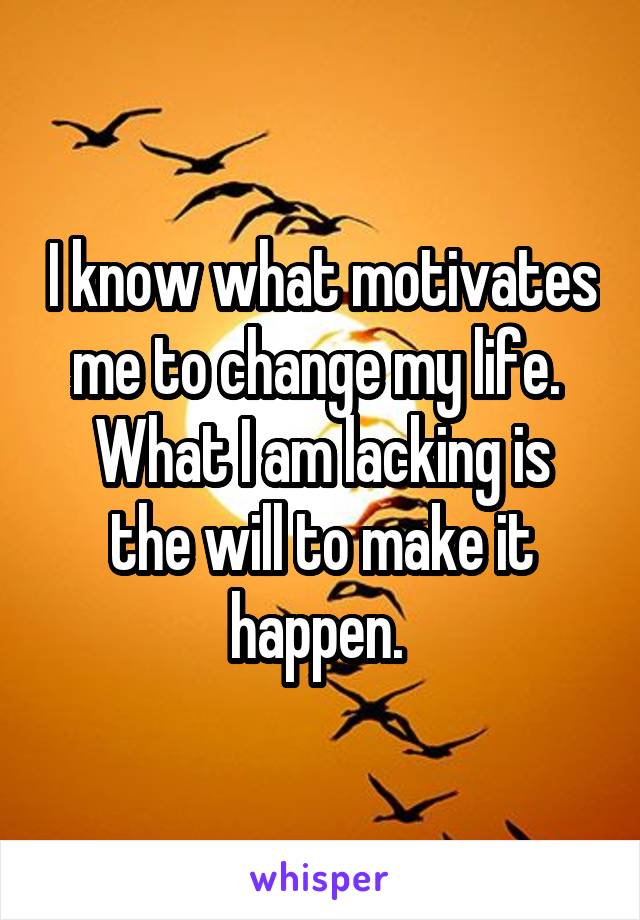 I know what motivates me to change my life.  What I am lacking is the will to make it happen.