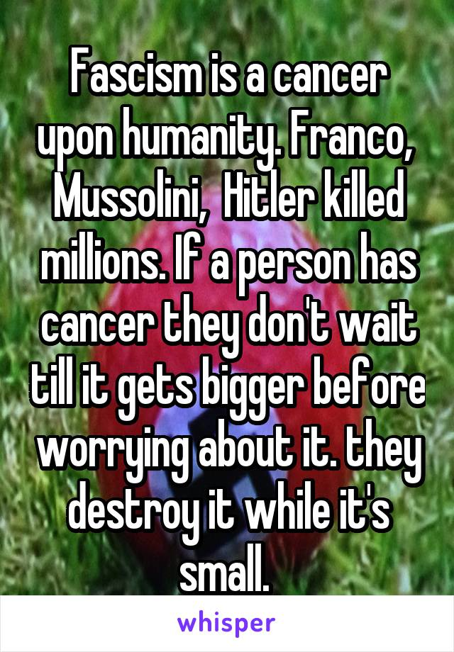 Fascism is a cancer upon humanity. Franco,  Mussolini,  Hitler killed millions. If a person has cancer they don't wait till it gets bigger before worrying about it. they destroy it while it's small.