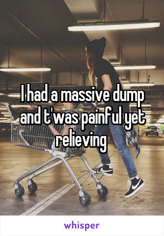 I had a massive dump and t'was painful yet relieving