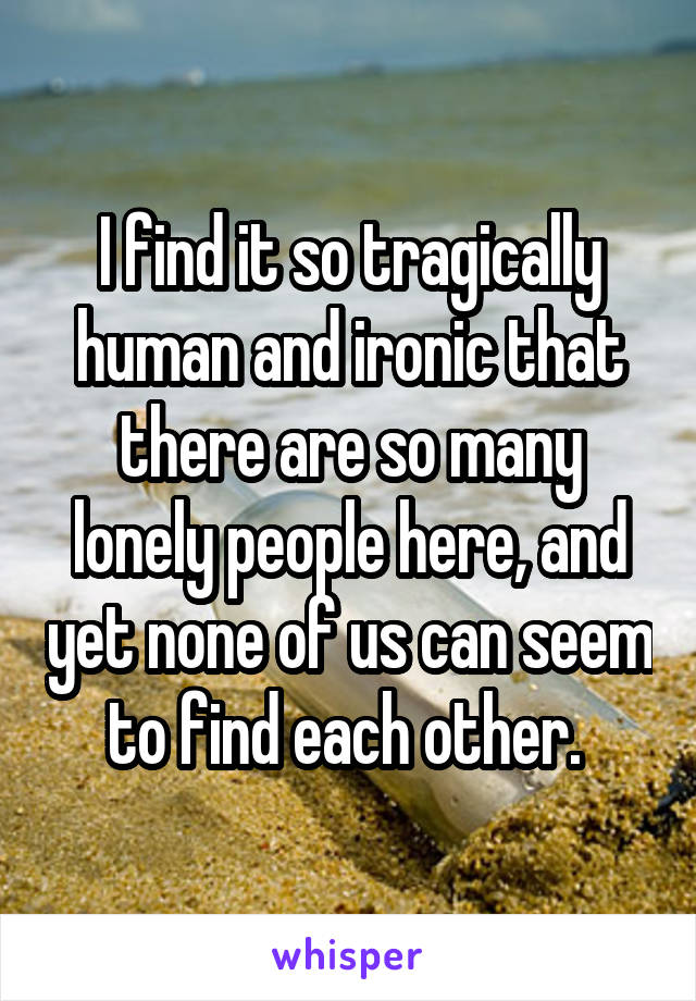 I find it so tragically human and ironic that there are so many lonely people here, and yet none of us can seem to find each other.