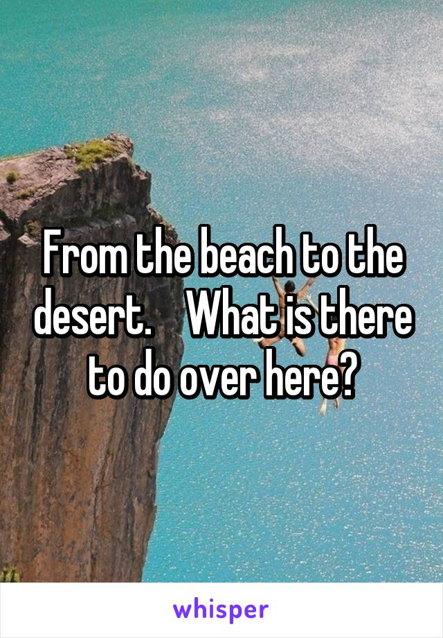 From the beach to the desert.    What is there to do over here?