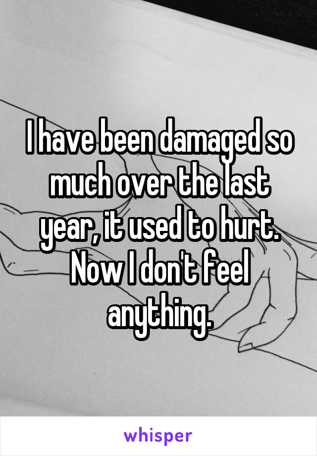 I have been damaged so much over the last year, it used to hurt. Now I don't feel anything.