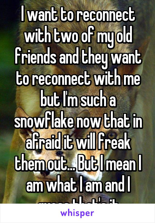 I want to reconnect with two of my old friends and they want to reconnect with me but I'm such a snowflake now that in afraid it will freak them out... But I mean I am what I am and I guess that's it