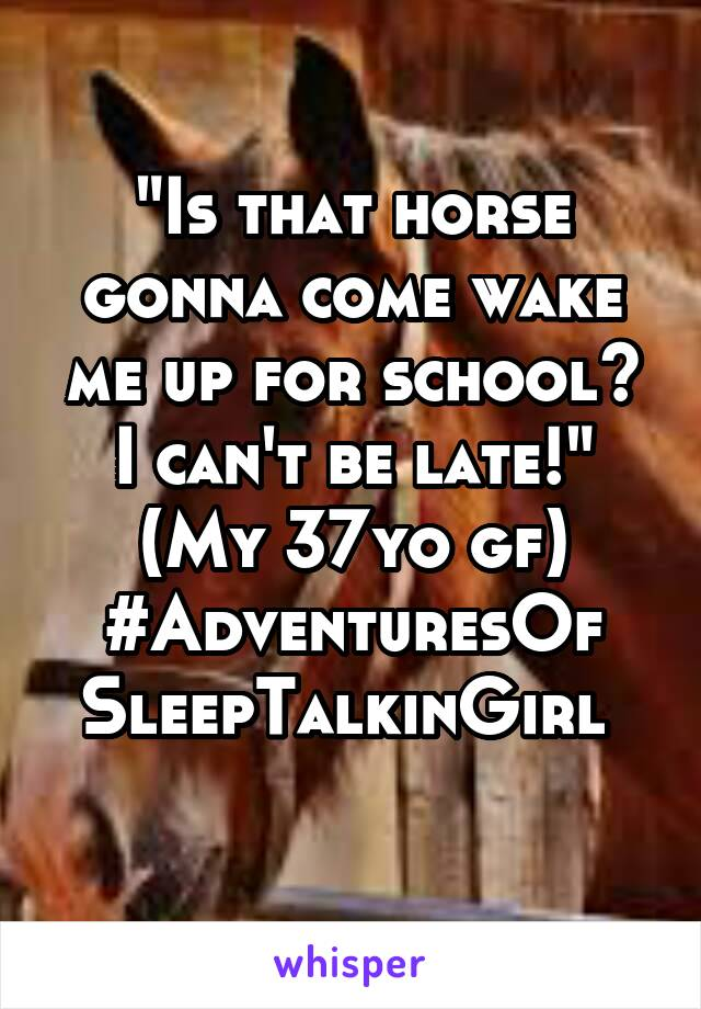 """Is that horse gonna come wake me up for school? I can't be late!"" (My 37yo gf) #AdventuresOf SleepTalkinGirl"