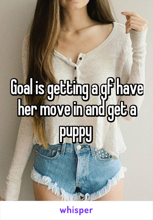 Goal is getting a gf have her move in and get a puppy