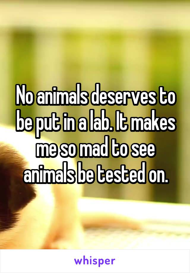 No animals deserves to be put in a lab. It makes me so mad to see animals be tested on.
