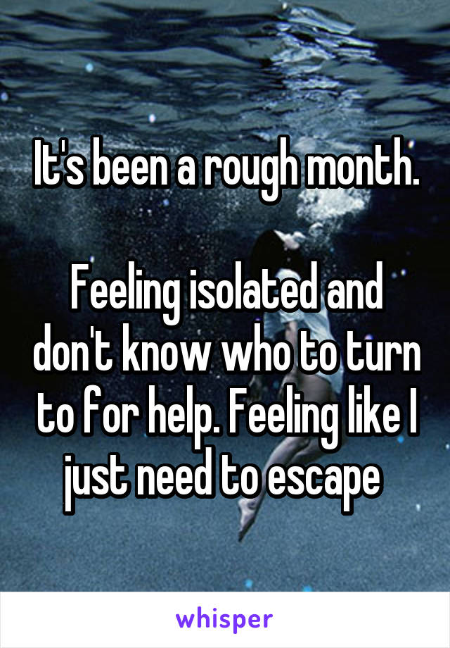 It's been a rough month.  Feeling isolated and don't know who to turn to for help. Feeling like I just need to escape