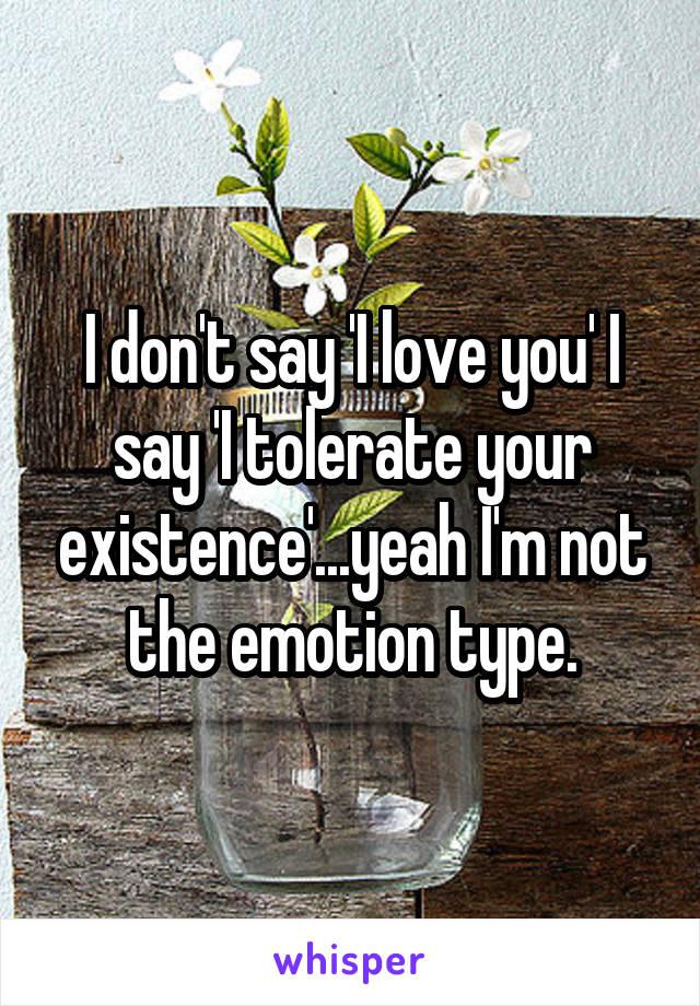 I don't say 'I love you' I say 'I tolerate your existence'...yeah I'm not the emotion type.