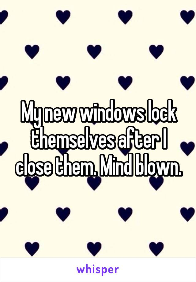 My new windows lock themselves after I close them. Mind blown.