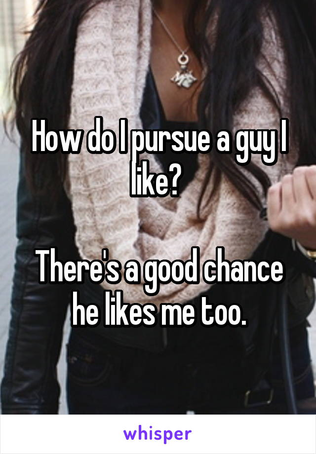 How do I pursue a guy I like?   There's a good chance he likes me too.