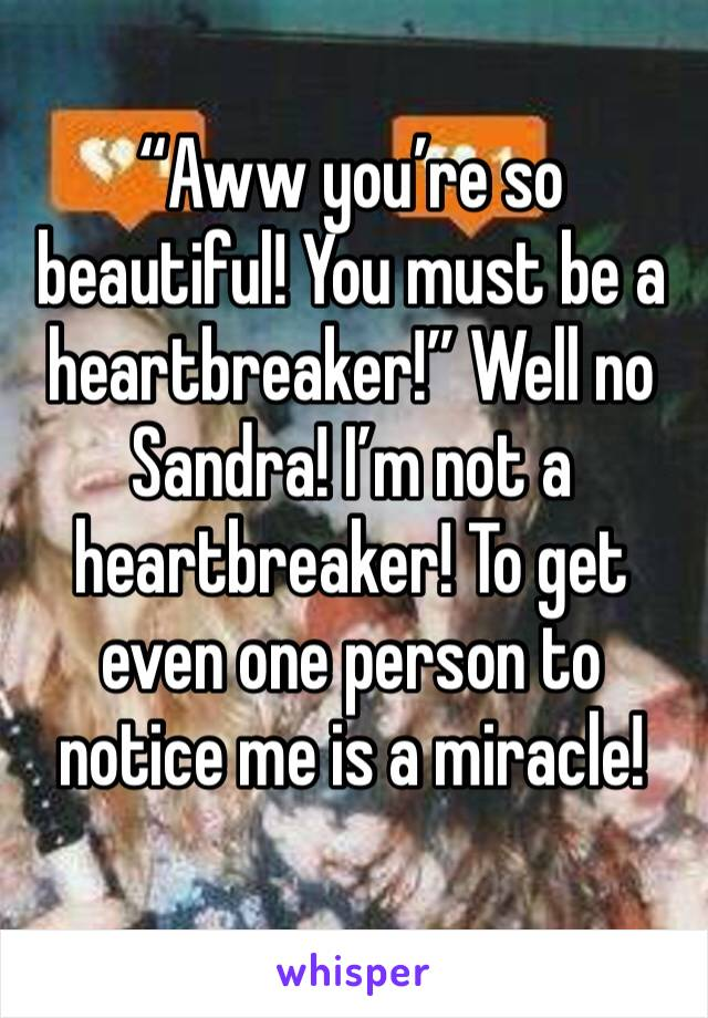 """""""Aww you're so beautiful! You must be a heartbreaker!"""" Well no Sandra! I'm not a heartbreaker! To get even one person to notice me is a miracle!"""