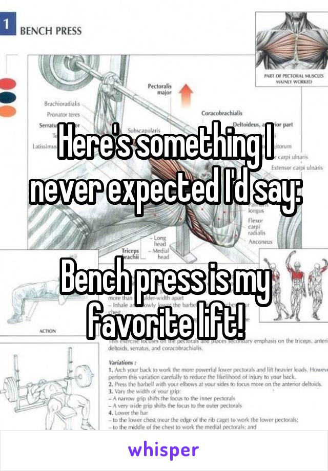 Here's something I never expected I'd say:  Bench press is my favorite lift!