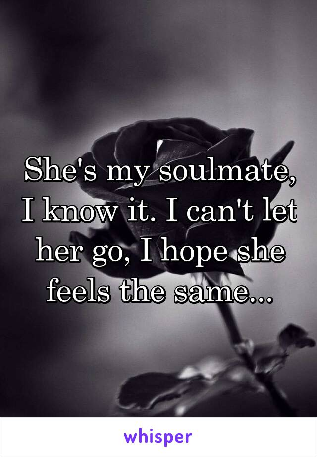 She's my soulmate, I know it. I can't let her go, I hope she feels the same...