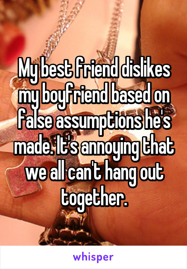 My best friend dislikes my boyfriend based on false assumptions he's made. It's annoying that we all can't hang out together.