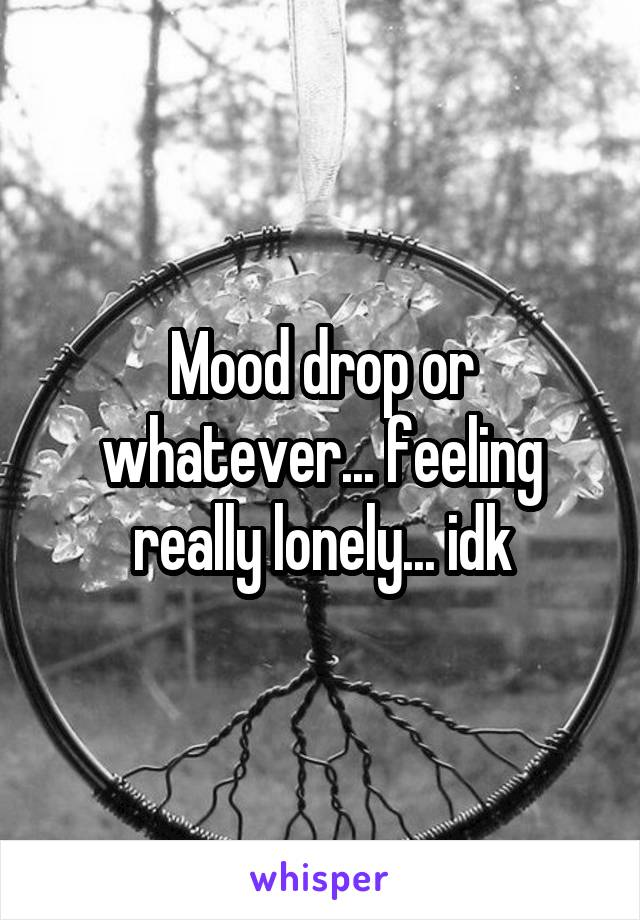 Mood drop or whatever... feeling really lonely... idk