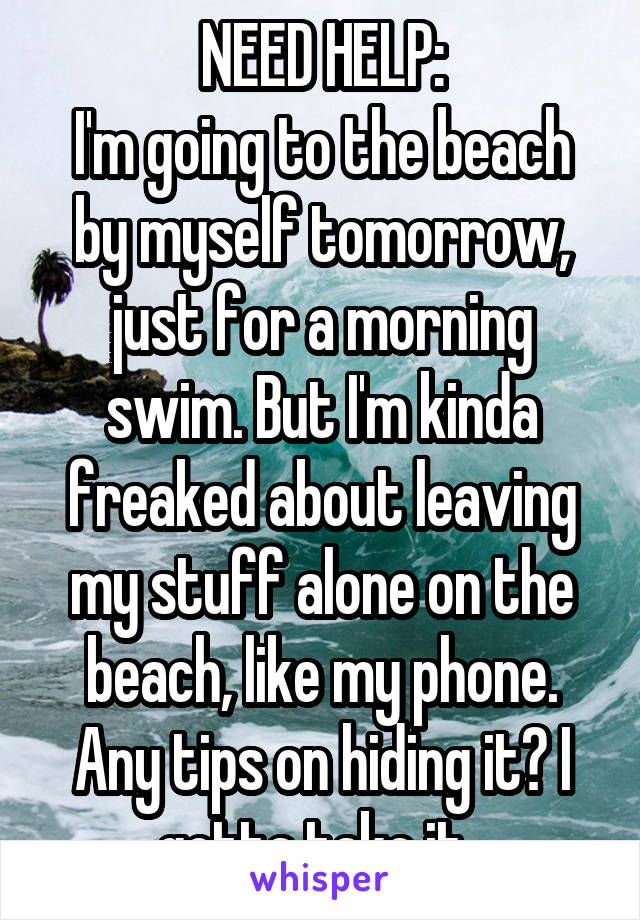 NEED HELP: I'm going to the beach by myself tomorrow, just for a morning swim. But I'm kinda freaked about leaving my stuff alone on the beach, like my phone. Any tips on hiding it? I gotta take it.