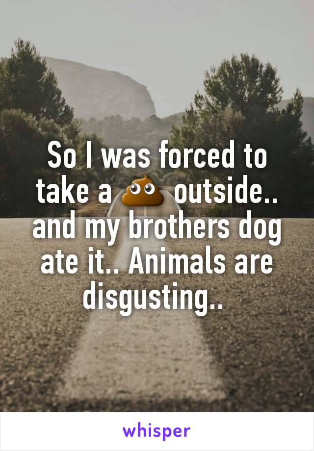 So I was forced to take a 💩 outside.. and my brothers dog ate it.. Animals are disgusting..